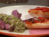 Tre Colore Pesto and Grilled Steak with Quick Roasted Tomatoes and Garlic