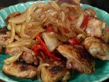 Broiled Chicken Thighs with Fennel, Onions, and Roasted Red Peppers