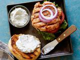 Everything Salmon Burgers with Scallion Sour Cream-Cream Cheese Sauce