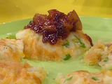 Smashed Potato-Cheddar Cakes with Warm Cran-Apple Sauce