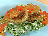 Cod Croquettes, Sweet Red Pepper Gravy, and Mashed Potatoes with Spinach