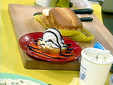 Pound Cake with Vanilla Ice Cream and Chocolate Sauce
