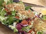 Killer Crab Cakes and Bitter Salad with Sweet Red Pepper Dressing