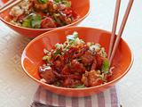 Asian Barbecued Chicken Stir Fry with Peanuts and Rice