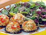 Crab Stuffed Portobellos and Citrus-Mustard Dressed Greens