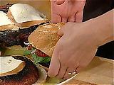 Portobello Burgers with Roasted Pepper Paste and Smoked Mozzarella