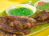 Lamb with Arugula Dipping Sauce
