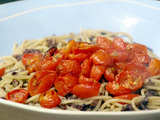 Spaghetti with Tapenade Sauce and Roasted Tomatoes