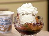 Wine Poached Peaches with Ice Cream
