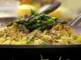 Carbonara-Style Tagliatelle with Grilled Asparagus and Lemon-Herb Breadcrumbs