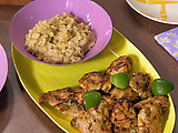 Tandoori Chicken with Mashed Chick Peas and Pepper and Onion Salad