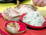 Roasted Garlic, Feta and Walnut Dip, Toasted Flat Bread