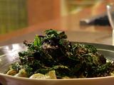 Tuscan Pesto-Dressed Penne with Crispy Kale with Garlic and Broiled Tomato Crostini