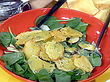 Baby Spinach Salad with Thyme and Dijon Vinaigrette with Crisp Swiss Cheese Crisps