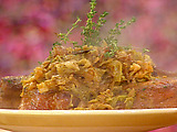 Smothered Pork Chops with Apples, Onions and Cabbage