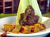 Beef Fillet Marinated in Cholula Hot Sauce with Tamale and Achiote Paste