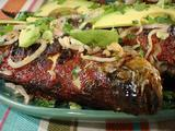 Whole Grilled Achiote Striped Bass with Spicy Pickled Red Onions
