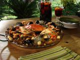 Fire Pit Paella with Portuguese Sausage, Crab and Escargot