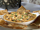 Hot Crab Rangoon Dip with Won Ton Chips