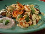 Grilled Shrimp Skewers with Mustard-Dill Dressing and Black Olive Yogurt Sauce