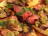 Flank Steak Crostini with Chimichurri and Vidalia Relish