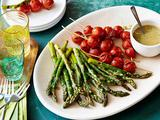 Asparagus and Tomato Skewers with Honey Mustard-Horseradish Sauce