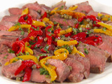 Grilled Sirloin Steaks with Pepper and Caper Salsa
