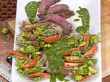 Marinated and Grilled Flank Steak with Chimichurri Sauce, Yucca Fries and Avocado, Tomato and Red Onion Salad