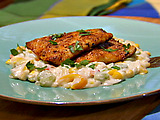 Seared Trout over Succotash