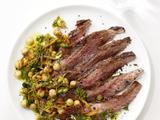 Grilled Steak With Chickpea Salad and Cilantro Pesto