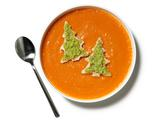 Roasted Red Pepper Soup With Broccoli Pesto Trees