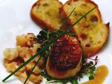 Seared Scallops over Micro Greens with Orange Tarragon Vinaigrette with Butter Poached Lobster