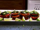 Spicy Tomato Napoleons with Black Beans