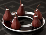 Red Wine Poached Pears with Mascarpone Filling
