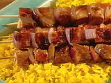 Singapore Pork Satay with Lemon-Curry Rice