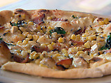 White Cheese Pizza with Grilled Corn and Wood Smoked Bacon
