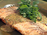 Grilled Salmon Fillet with Honey-Mustard Sauce