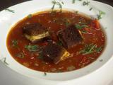 Bloody Mary Soup with Pumpernickel Grilled Cheese Croutons