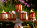 Cheesecake Petit Fours with Creamy Strawberry Glaze