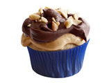 Peanut Cupcakes with Nougat-Chocolate Frosting
