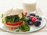 Kale and Tomato Eggs Benedict with Berries