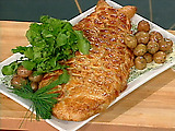 Puff Pastry-wrapped Salmon and Watercress Mousse with Champagne-Chive Butter Sauce and Buttered New Potatoes
