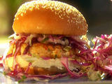 Salmon Burgers with Soy Mayo and Simple Sesame Slaw
