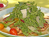 Grilled Chicken Cutlets with Lemon and Black Pepper and Arugula-Tomato Salad