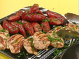 Grilled Chicken Breasts and Linguica