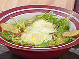 Frisee Salad with Lardons, Fried Eggs and Vinaigrette