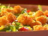 Fried Popcorn Shrimp with Mache, Roasted Corn, Asparagus and Grape Tomato Vinaigrette