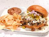 Green Chili Sloppy Joses with Refried Bean Dip and Chips
