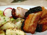 Roasted Pork Belly with Warm Potatoes and a Celery Radish Salad