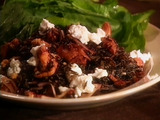 Wild Rice and Chanterelle Salad with Dried Fruit, Goat Cheese, and Walnuts